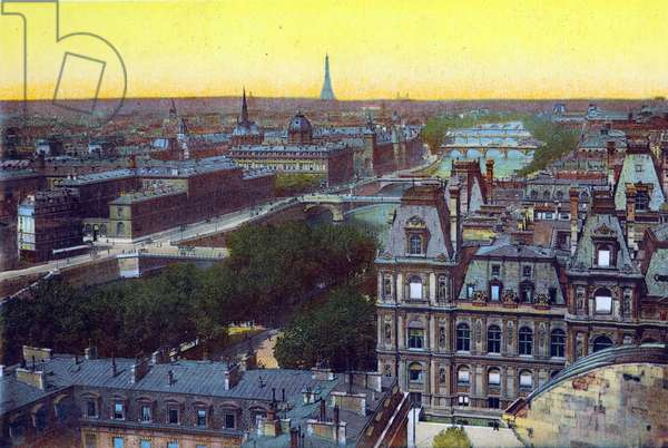 Panorama of the eight bridges, from 'Souvenirs De Paris - Monuments Vues en Couleurs' (colour litho)