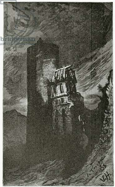 La Tourgue - illustration from Quatre Vingt Treize,19th Century (b/w engraving)