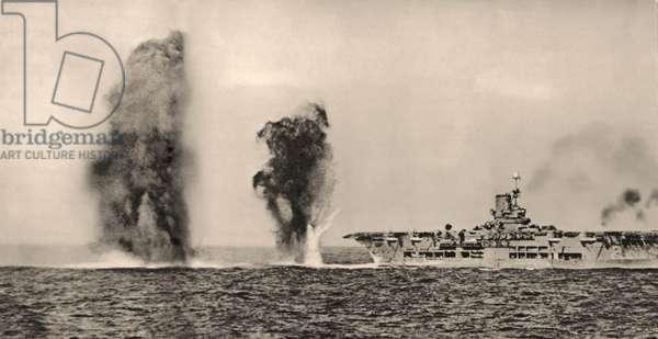 HMS Ark Royal under Italian air attack, 1940 (photo)