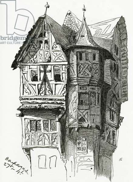 House in Bacharach on the River Rhine  ,19th Century (b/w engraving)