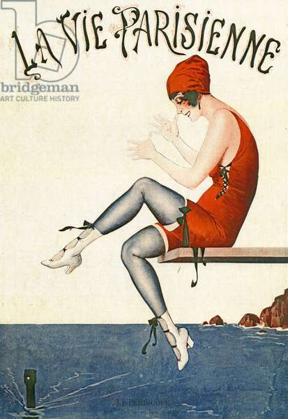 """Swimmer on diving board, Illustration from """"La Vie Parisienne"""", 1920 (colour Litho)."""