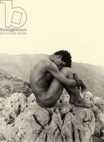 Study of a male nude on a rock, Taormina, Sicily, c.1900 (sepia photo)