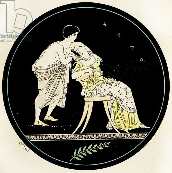 A man trying to seduce a woman, Illustration from Notor's Lysistrata,  1898 (litho)