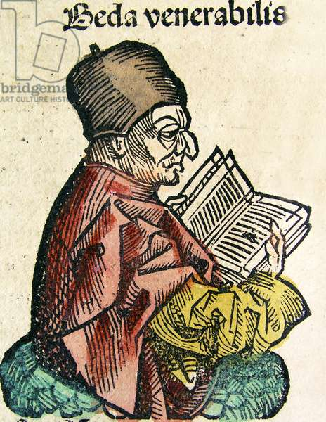 Portrait of Bede (673-735),  published in the Nuremberg Chronicle, 1493 (woodcut)