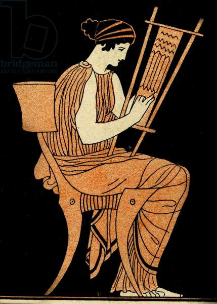 Woman weaving, Illustration from Notor's Lysistrata,  1898 (litho)