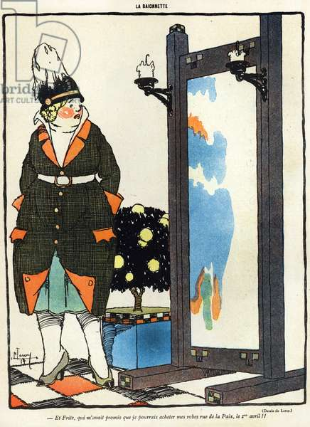 Cartoon depicting a German lady disappointed at not being able to buy her new clothes in Paris in the rue de la Paix, from the 'April Fool's Day ('Poisson d'Avril') edition of 'La Baionette' magazine, 29 March 1917 (litho)