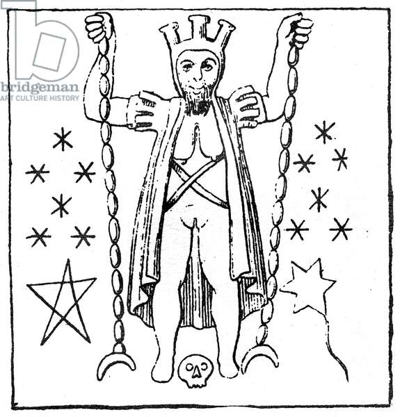 The Baphomet of the Templars, illustration of a carved scene from a marble goblet in the Kunsthistorisches Museum in Vienna (engraving) (simplified version of 405782)