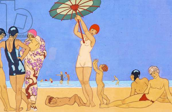 A Day at the Beach, 1923 (pochoir)