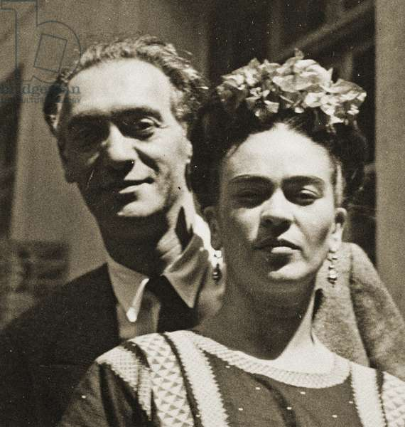 Portrait of Nickolas Muray and Frida Kahlo, New York c.1928 (b/w photo)
