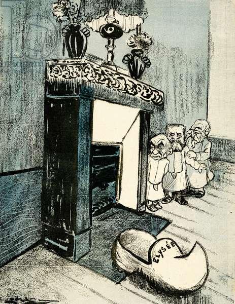 Georges Clémenceau, Armand Fallières  and  Émile Combes wait by the fireplace to surprise Santa. 1905. (litho)