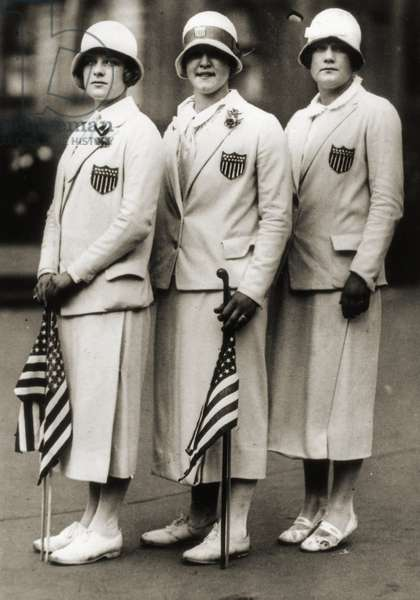 L to R: Aileen Riggin, Gertrude Ederle, Helen Wainwright, Three American Olympic Swimming Champions, 1924 (b/w photo)