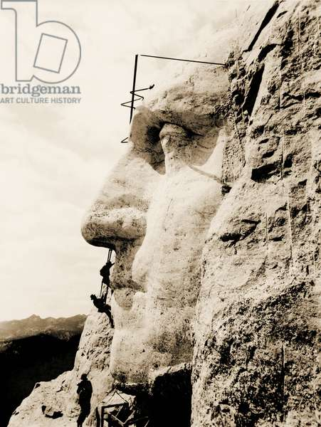 The construction of The Mount Rushmore National Memorial, detail of George Washington,1928 (sepia Photo)
