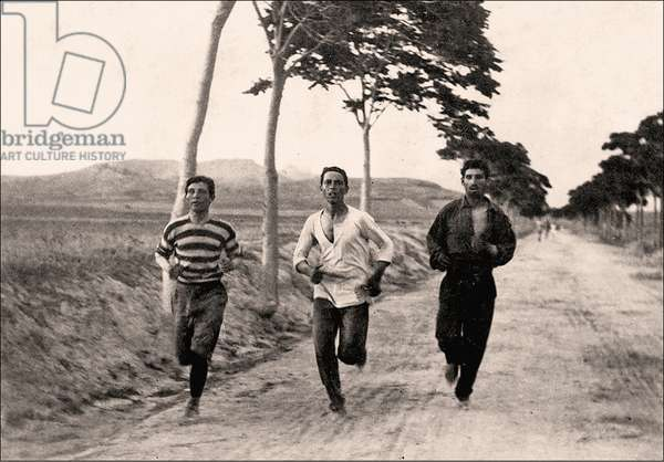 Three men compete in a marathon in the first Olympic games, Athens, Greece 1896 (photo)