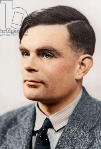Portrait of Alan Mathison Turing, (1912 - 54) (b/w photo)