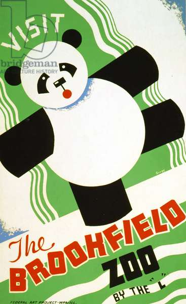 Poster advertising Brookfield Zoo in Chicago,Illinois, 1938 (colour Litho)