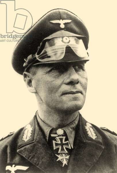 Portrait of General Erwin Rommel c.1942 (b/w photo)