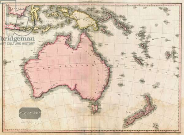 John Pinkerton's map of Australia and the South West Pacific, 1818 (colour engraving)