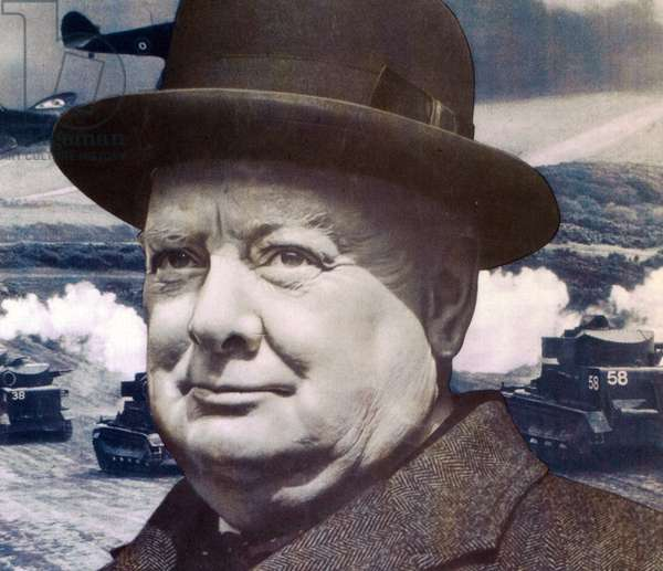 'Let Us Go Forward Together', World War Two propaganda poster, detail of Winston Churchill, 1940 (print)