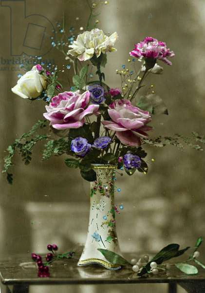 Vase of flowers  c.1898 (hand-tinted photo)