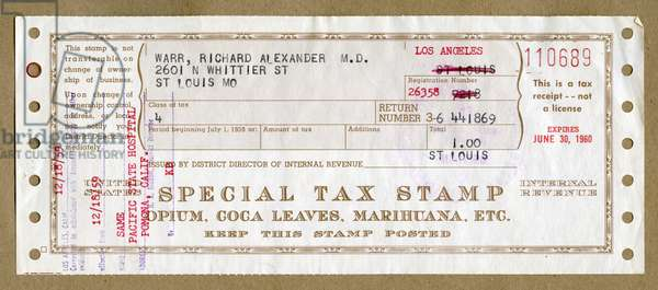 Special tax stamp for medical Opium, Coca Leaves and Marajuana, 1959 (photo)