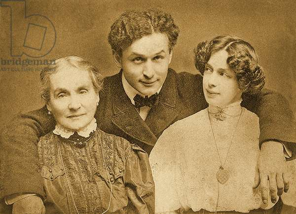 Portrait of Harry Houdini with is mother and wife c.1907 (sepia photo)