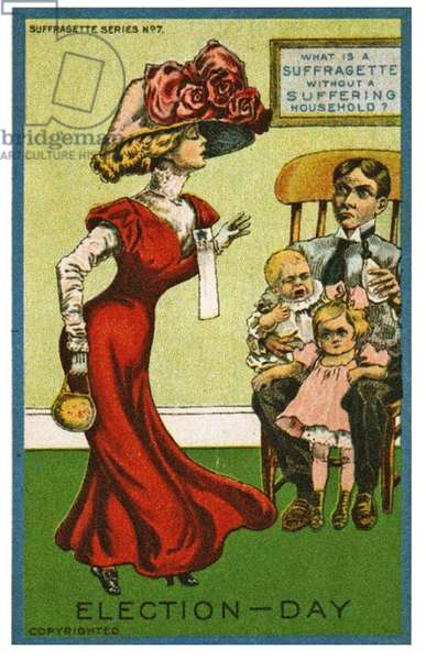 """What is a Suffragette without a suffering household"" Anti-Suffrage Postcard depicting a House Husband looking after the children while his wife goes to vote, c.1910 (litho)"