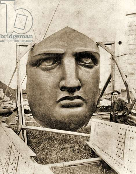 The construction of the Statue of Liberty, detail of the face, c.1876 (Sepia Photo)