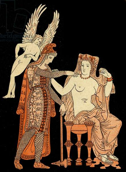 Menelaus and Helen of Troy, Illustration from Notor's Lysistrata,  1898 (litho)