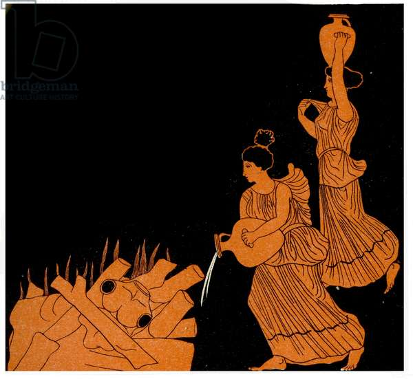 Two women extinguishing a fire, Illustration from Notor's Lysistrata,  1898 (litho)
