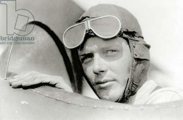 Charles A. Lindbergh in St. Louis, Missouri, USA (b/w photo)