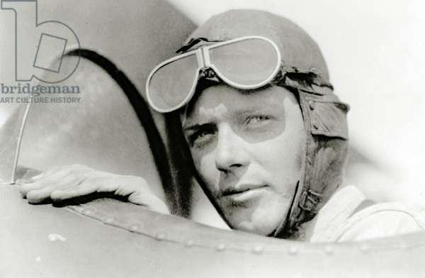 Charles A. Lindbergh in St. Louis, Missouri, USA (b/w photo)