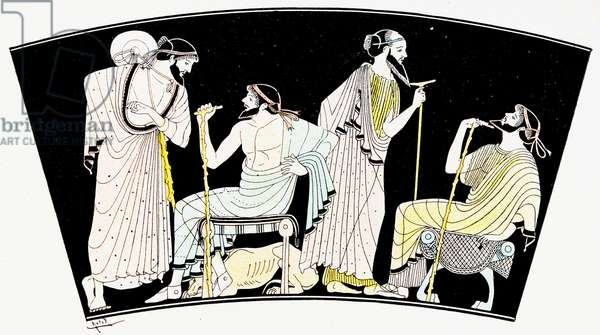 A group of men talking, Illustration from Notor's Lysistrata,  1898 (litho)