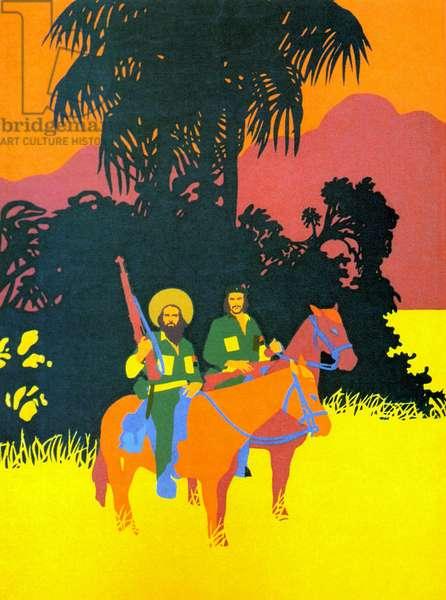Che and Camillo on horseback,1971 (screenprint)