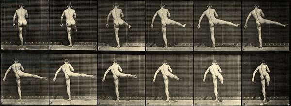 Nude male Ballet dancer, First Ballet action, lifting right leg (Plate 369) c.1887 (b/w photo)