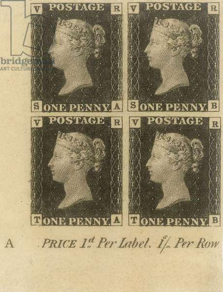 Block of Penny Black stamps, c.1840 (postage stamps)