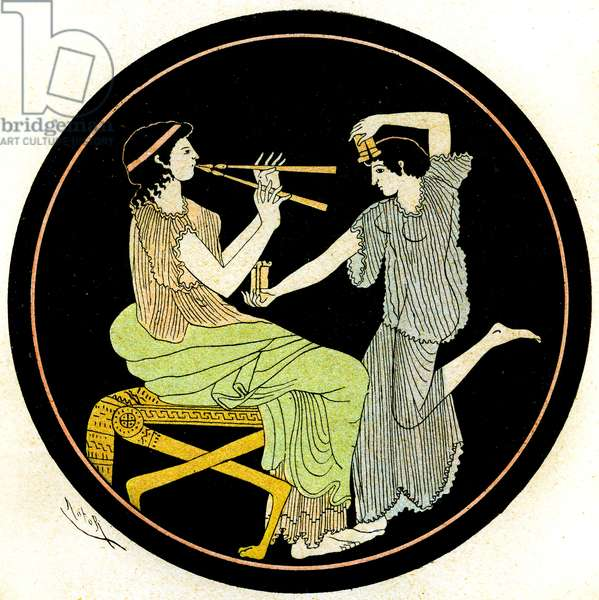 Two Female Musicians, Illustration from Notor's Lysistrata,  1898 (litho)