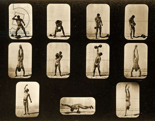 Athletes. Posturing form the 'Animal Locomotion' series, c.1881 (b/w photo)