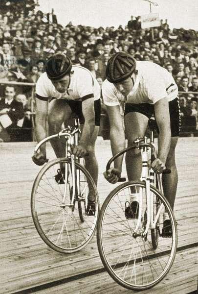 LtoR:  Toni Merkens and Albert Sellinger starting the 1000 metre bike race at the Berlin Olympic Games, 1936 (b/w photo)