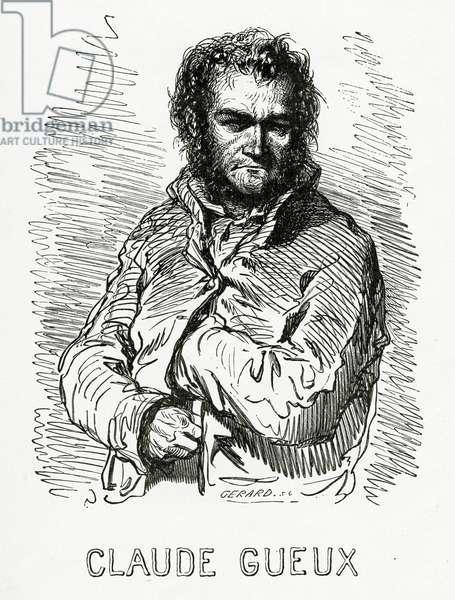 Portrait of  Claude Gueux, 1834 (b/w engraving)