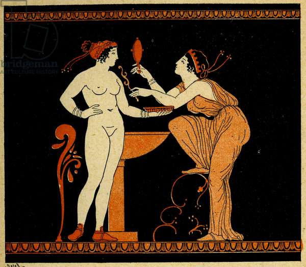 Bathing woman and her servant, Illustration from Notor's Lysistrata,  1898 (litho)