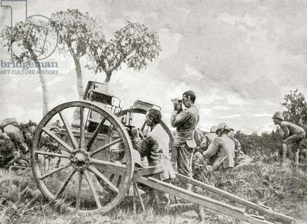 The Scottish Rifles' maxim on ZwartKop, South Africa (litho).