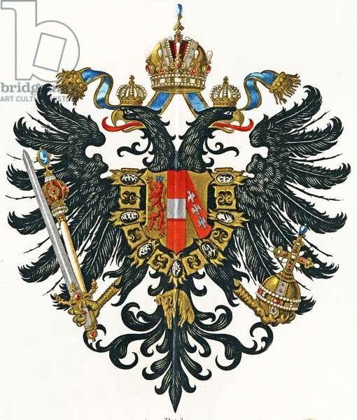 Coat of arms of Austrian Empire (Kaisertum Österreich) from 1816 until 1867, c.1898 (colour litho)
