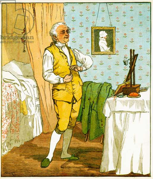 """The good man of Islington dressing, Illustration from """"An Elegy on the Death of a Mad Dog'' by Oliver Goldsmith, 1879 (litho)"""