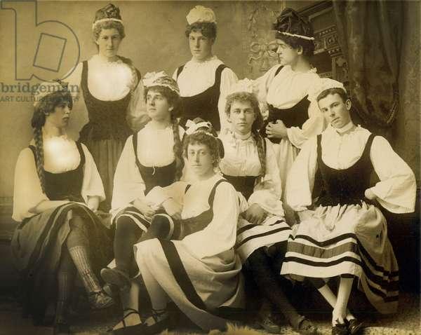 A group of men dressed as women, Cambridge, Massachusetts, 1880s-90s (albumen print)