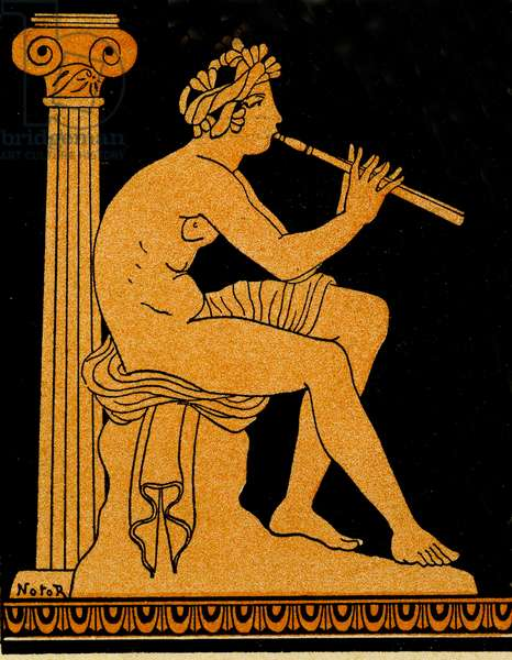 Polycharides playing the flute, Illustration from Notor's Lysistrata,  1898 (litho)