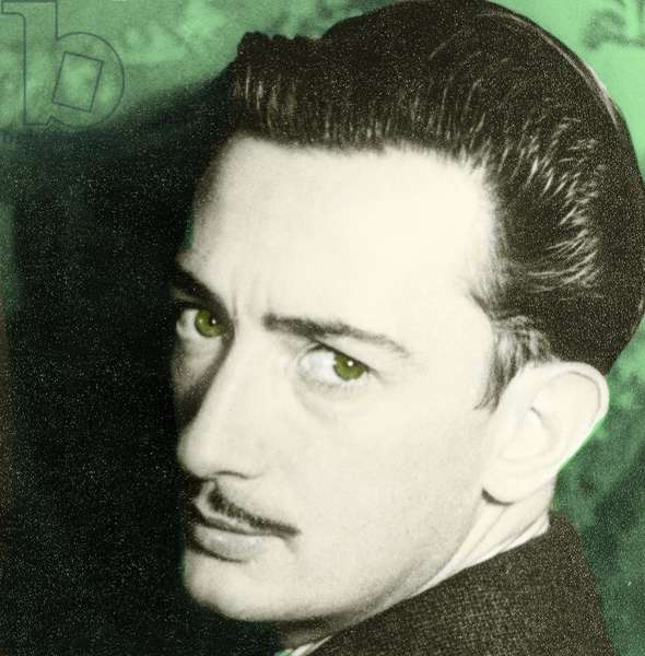 Portrait of Salvador Dali, 1939 (hand tinted photo)