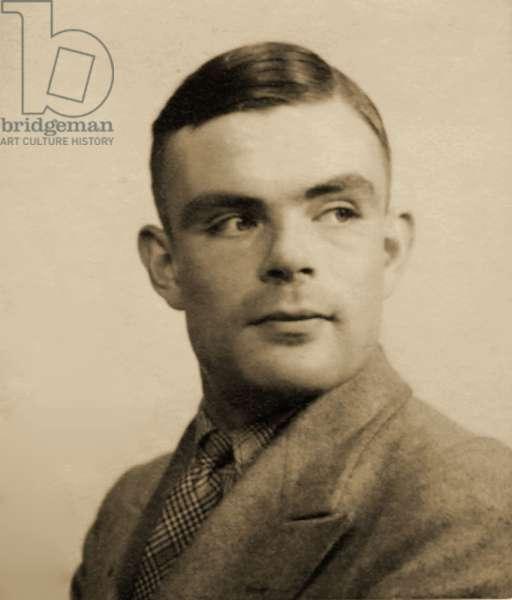 Portrait of Alan Mathison Turing, (1912 - 54) (b/w photo)