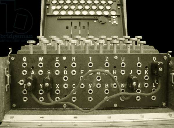 Enigma cipher machine with three rotors, detail of the keys and patch leads (photo)