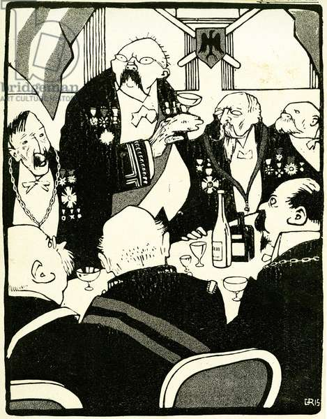European leaders make a toast during a conference, 1908. (litho).