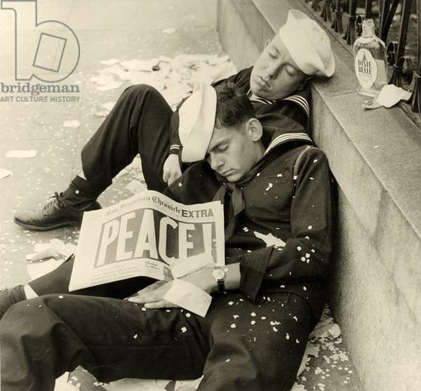 Two American Sailors celebrate the end of WW2, VJ-Day , New York. 1945 (photo)